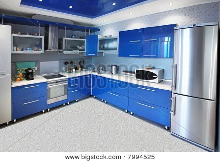 Modern Kitchen Interior In Blue Tones