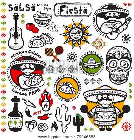 Set of Mexican vector symbols