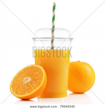 Orange juice in fast food closed cup with tube and slice of orange isolated on white