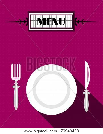 Card of menu with white plate and fork and knife, flat design