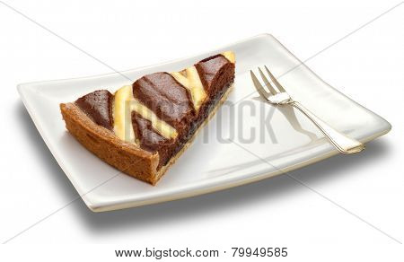 slice of a chocolate cake on white plate