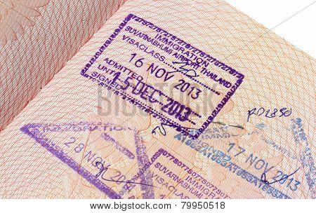 Immigration stamp of Suvarnabhumi airport in passport