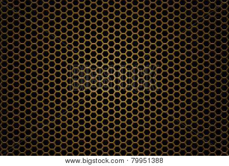 Metal Mesh Honeycomb Gold