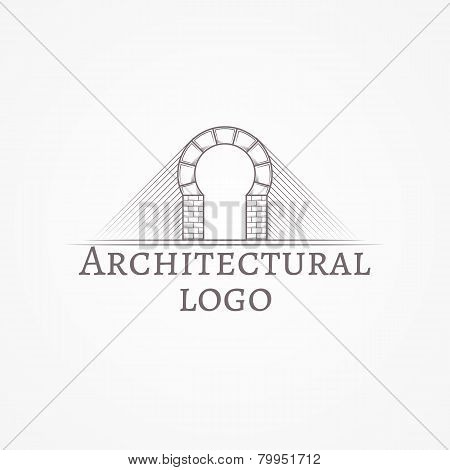 Vector illustration of brick round arch icon with text