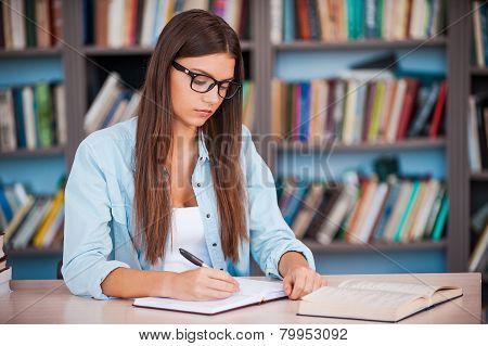 Doing Her Homework.