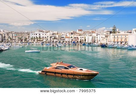 Trani touristic port with luxury yacht. Apulia.