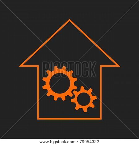 Black and orange house with gear wheels