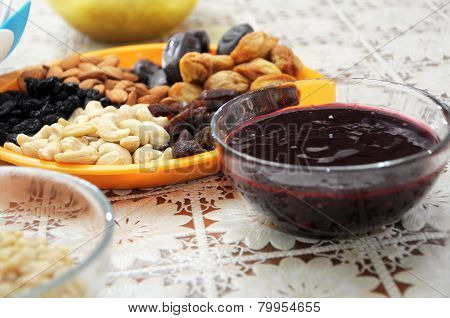 Dried Fruits, Nuts And Currant Jam