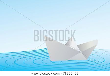 Paper Boat On Blue Water