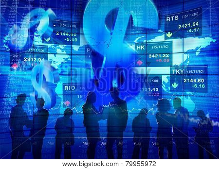 Stock Market Exchange Dollar Currency Colleague Team Occupation Concept