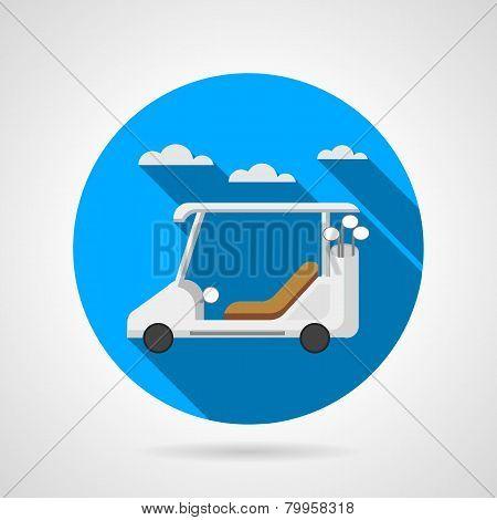 Golf car flat vector icon