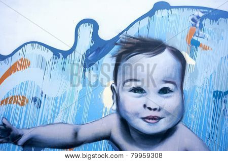 Baby Swimming Colorful Graffiti