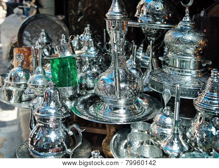 Traditional Metal Goods In Shop In The Medina Of Tunis