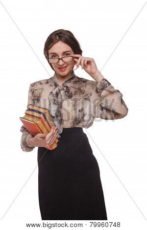 Woman teacher in glasses with books isolated white background