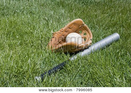 Glove, Bat And Ball