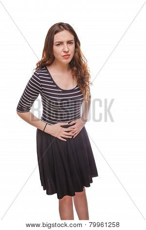 woman with hands on stomach ache isolated white background