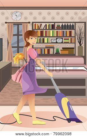 Happy Woman Vacuuming Carpet