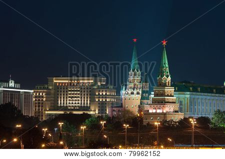 Two towers of Moscow Kremlin, Red Square.