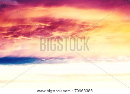 Beautiful Nature Background - Red Sunset, Bright Sun. Scenic View Of Beautiful Sun Set