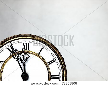 Old Clock With Roman Numerals.
