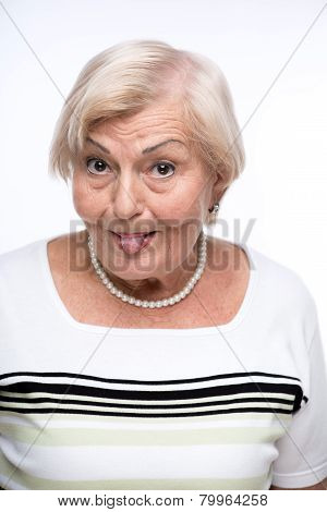 Naughty granny making faces