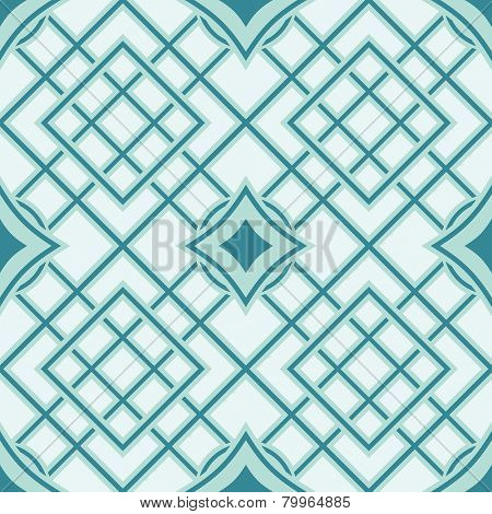Green and cyan seamless geometric vector wallpaper pattern.