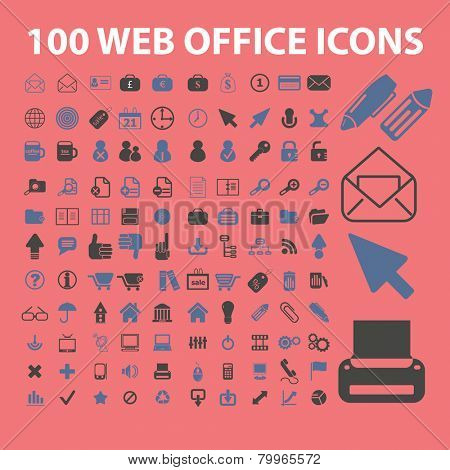 100 web office, internet icons, signs, symbols, illustrations set on background, vector
