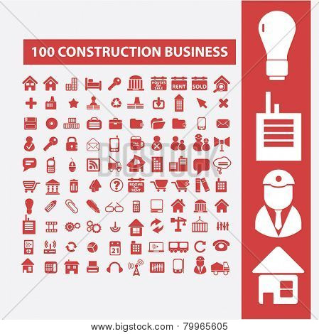 100 construction business, architecture, house, buildings icons, signs, symbols, illustrations set on background, vector