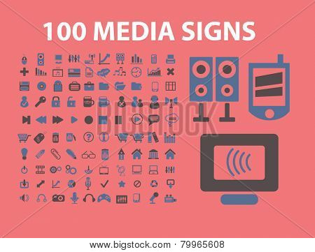 100 media, music, video, audio icons, signs, symbols, illustrations set on background, vector