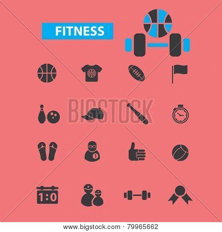 fitness, sport, gym bodybuilding icons, signs, symbols, illustrations set on background, vector