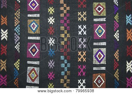 Traditional carpet pattern of Black Miao (Hmong) minority, Sapa Vietnam.