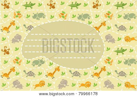 Card with background of funny animals