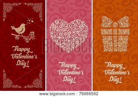 Set of artistic vintage card for Valentines Day. Vector illustration