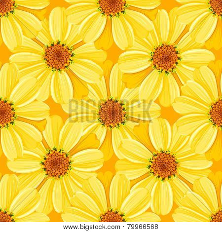 Retro flower seamless pattern - daisy. Vector.
