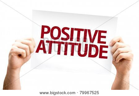 Positive Attitude card isolated on white background