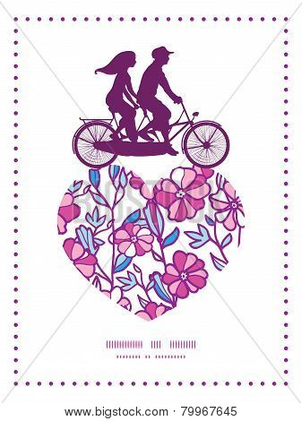 Vector vibrant field flowers couple on tandem bicycle heart silhouette frame pattern greeting card t