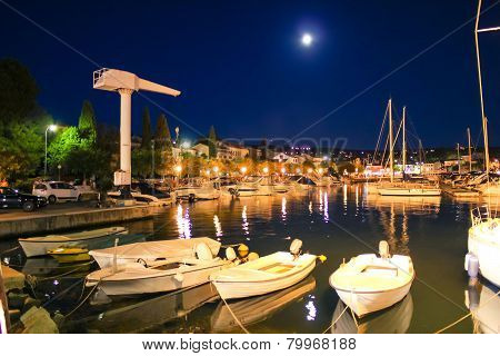 Malinska Evening Harbor View On Krk Island
