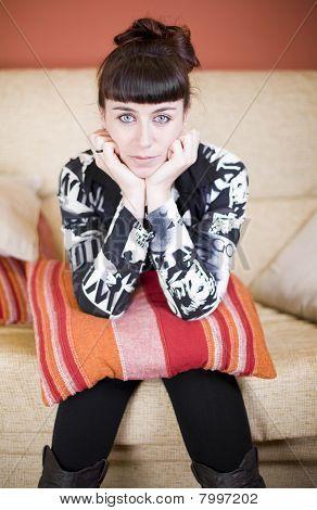 Beautiful Woman In A Sofa