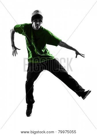 one  young acrobatic break dancer breakdancing man in silhouette white background