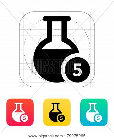 Florence flask with number icon. Vector illustration.