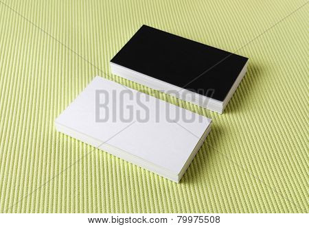 Business Cards On Green