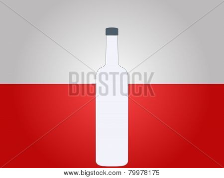 Polish Flag With A Bottle Of Vodka