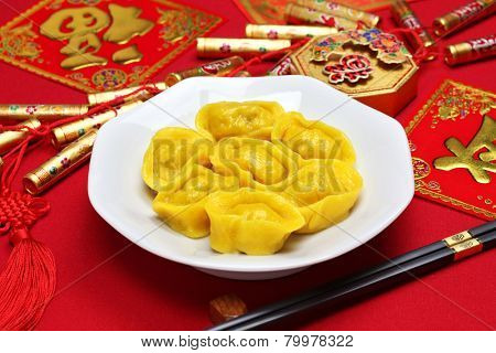 homemade chinese gold ingot dumplings, new year food, spring festival food
