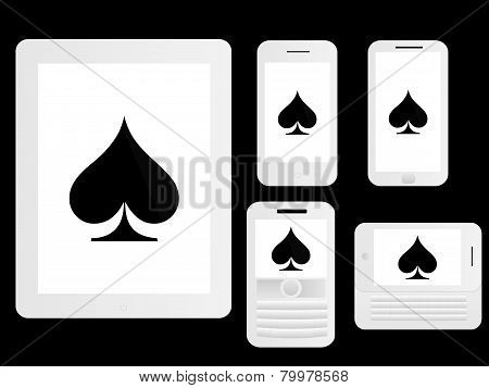 Mobile Devices With Poker Spades White