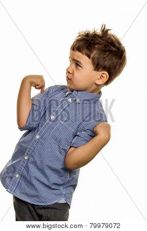 little boy in pose, symbol of childhood, carelessness, mischievousness