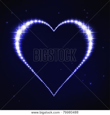 illustration of stylized blue regular heart in style of star constellation