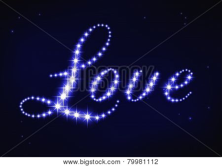 illustration of stylized blue word love in style of star constellation