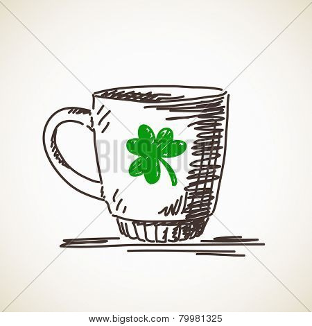 Sketch of mug with clover leaf Vector illustration