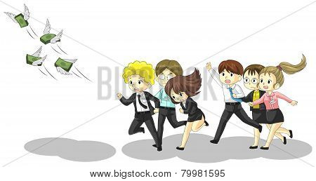 Money Is Flying Away From Business And Office People