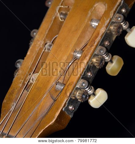 Old Acoustic Guitar Strings, Fretboard, Nut & Machine Head Closeup